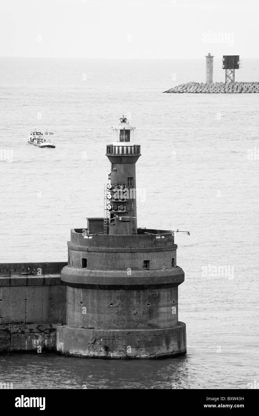 Old Mole Lighthouse,Port of Zeebrugge,West Flanders,Belgium,Europe - Stock Image