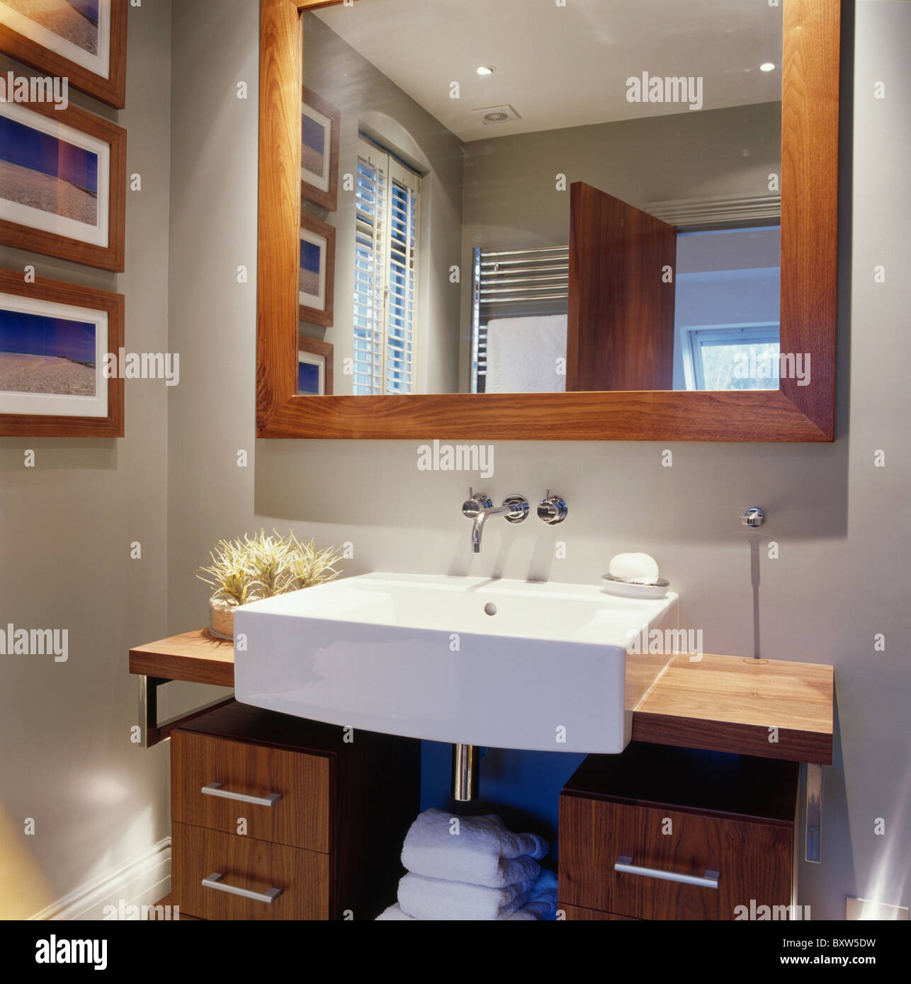 Large Wooden Framed Mirror Above Rectangular White Basin On Wood Stock Photo Alamy