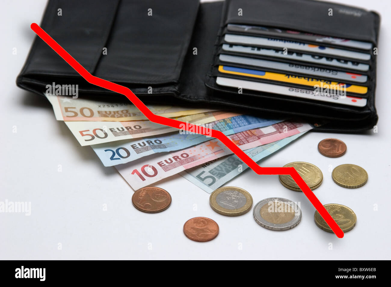 currency crisis of the EUR awaited collapse of the single currency symbol picture for the death of the Euro - Stock Image