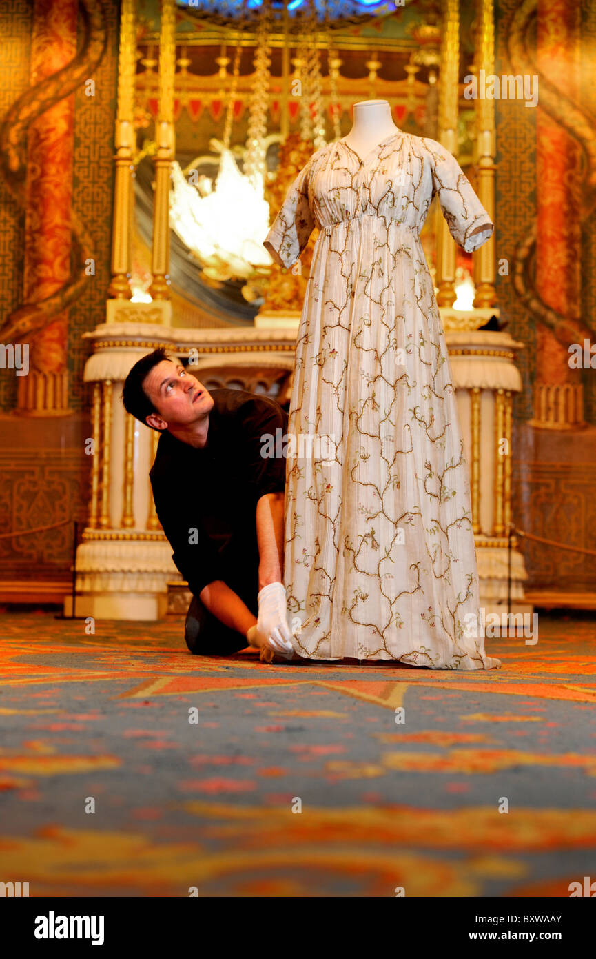 Dress for Excess-new exhibition celebrates fashion in Regency England. To open in Brighton,Sussex,UK.Picture Jim - Stock Image