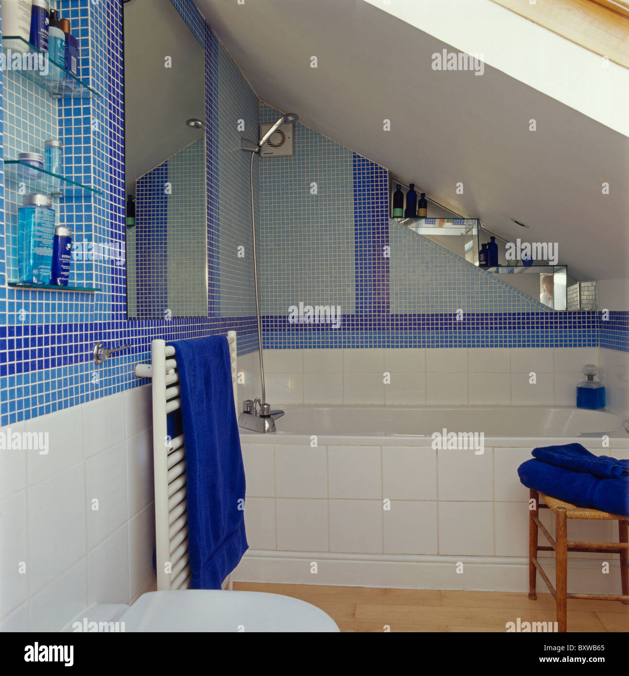 Blue mosaic tiles in small attic bathroom with white-tiled bath panel & Blue mosaic tiles in small attic bathroom with white-tiled bath ...
