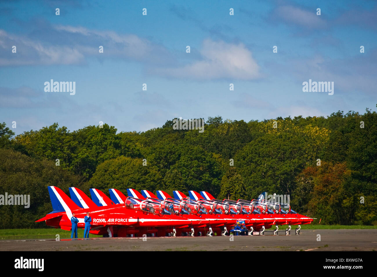 The Red Arrows formation team at the Wings & Wheels display, Dunsfold Surrey UK 2010 - Stock Image