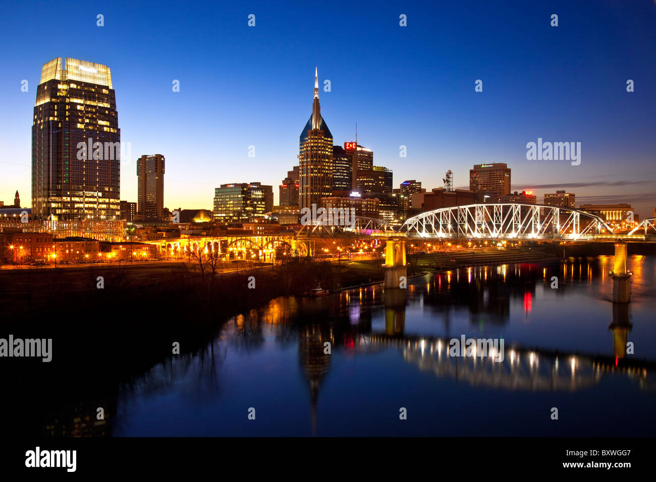 Twilight over the Cumberland River at Nashville Tennessee, USA - Stock Image