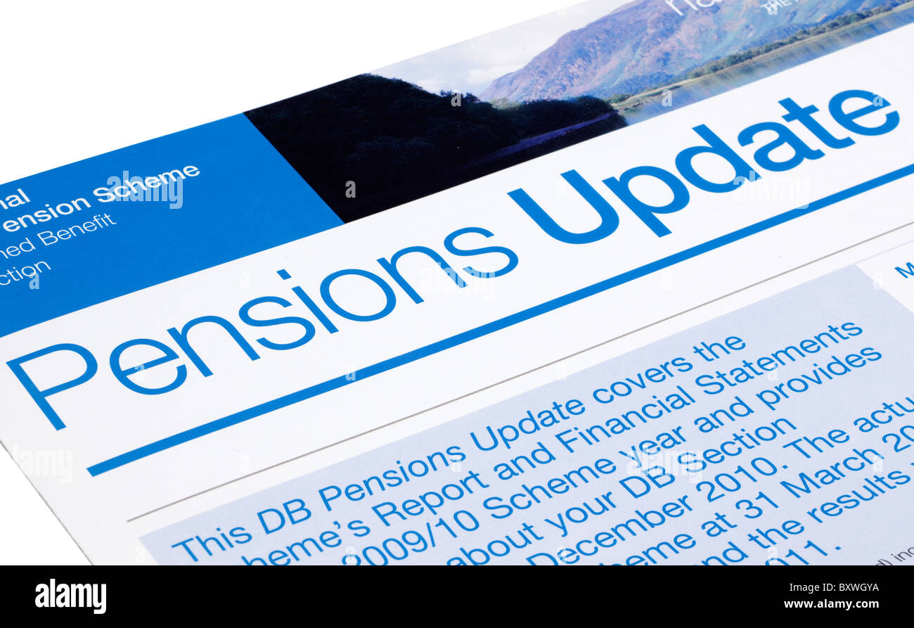 Pensions update information sheet. - Stock Image