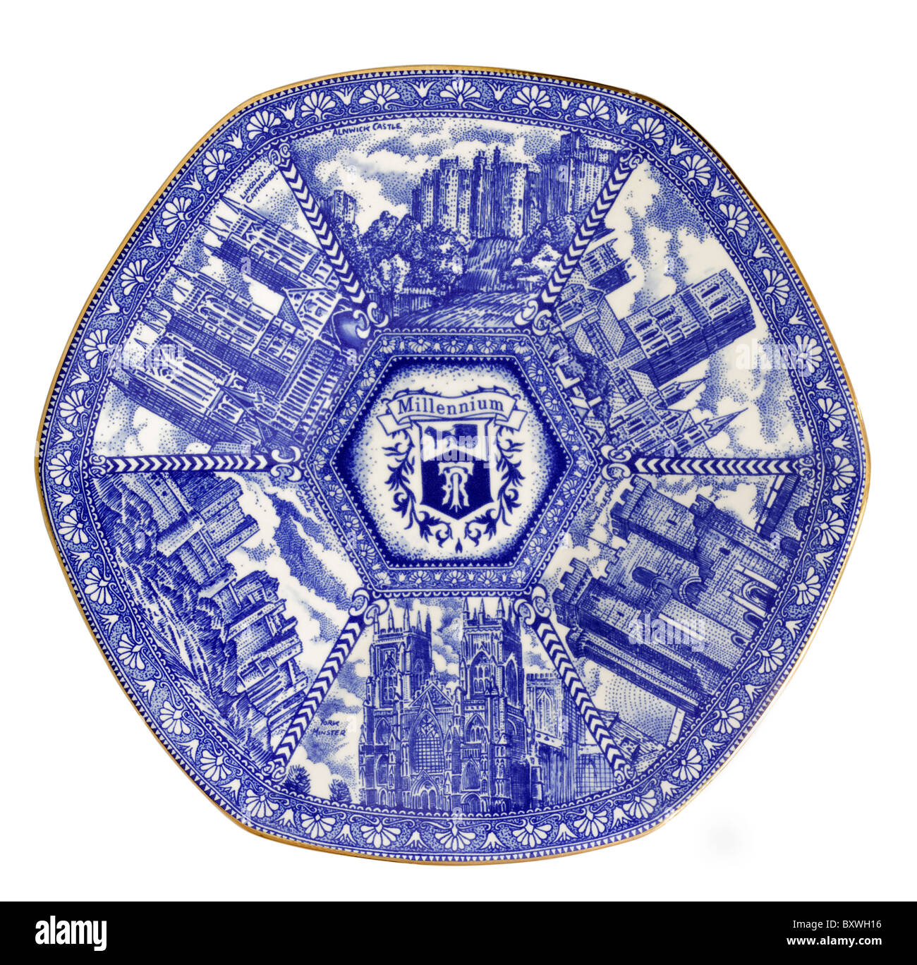 Blue and white plate commemorating the millennium with British landmarks - Stock Image