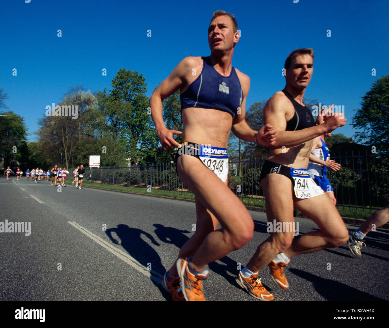 Runner at Hanse-Marathon in Hamburg, Germany - Stock Image