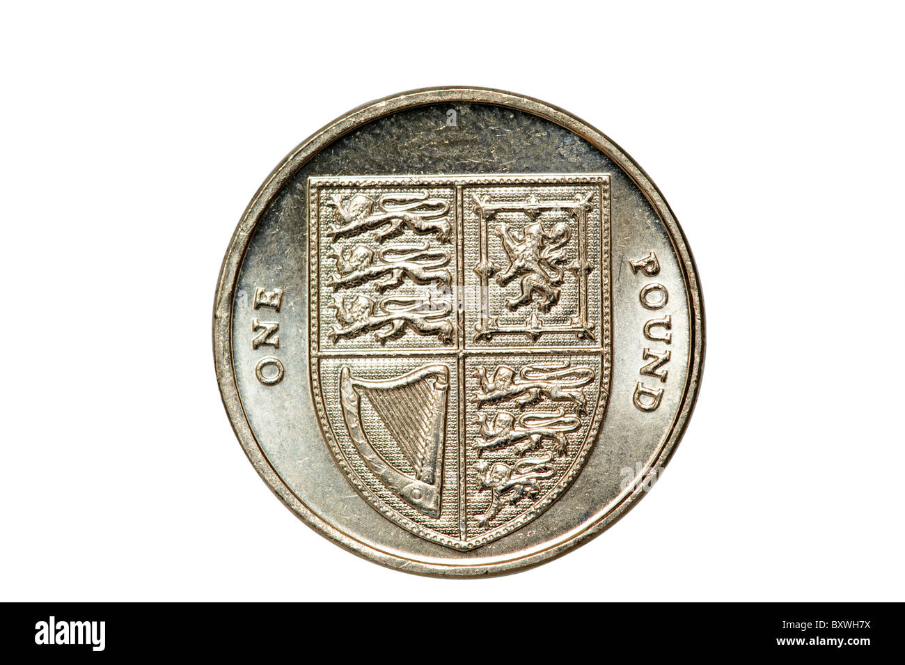 Close up of a 2009 British sterling one pound coin.  Editorial use only - Stock Image