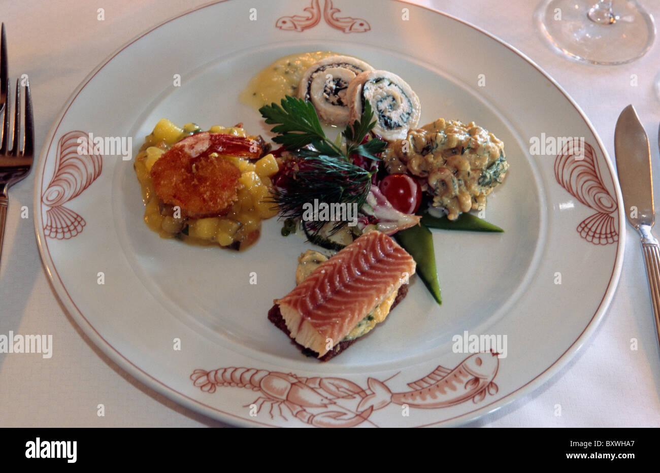 Plate in Fischereihafenrestaurant, Hamburg, Germany - Stock Image