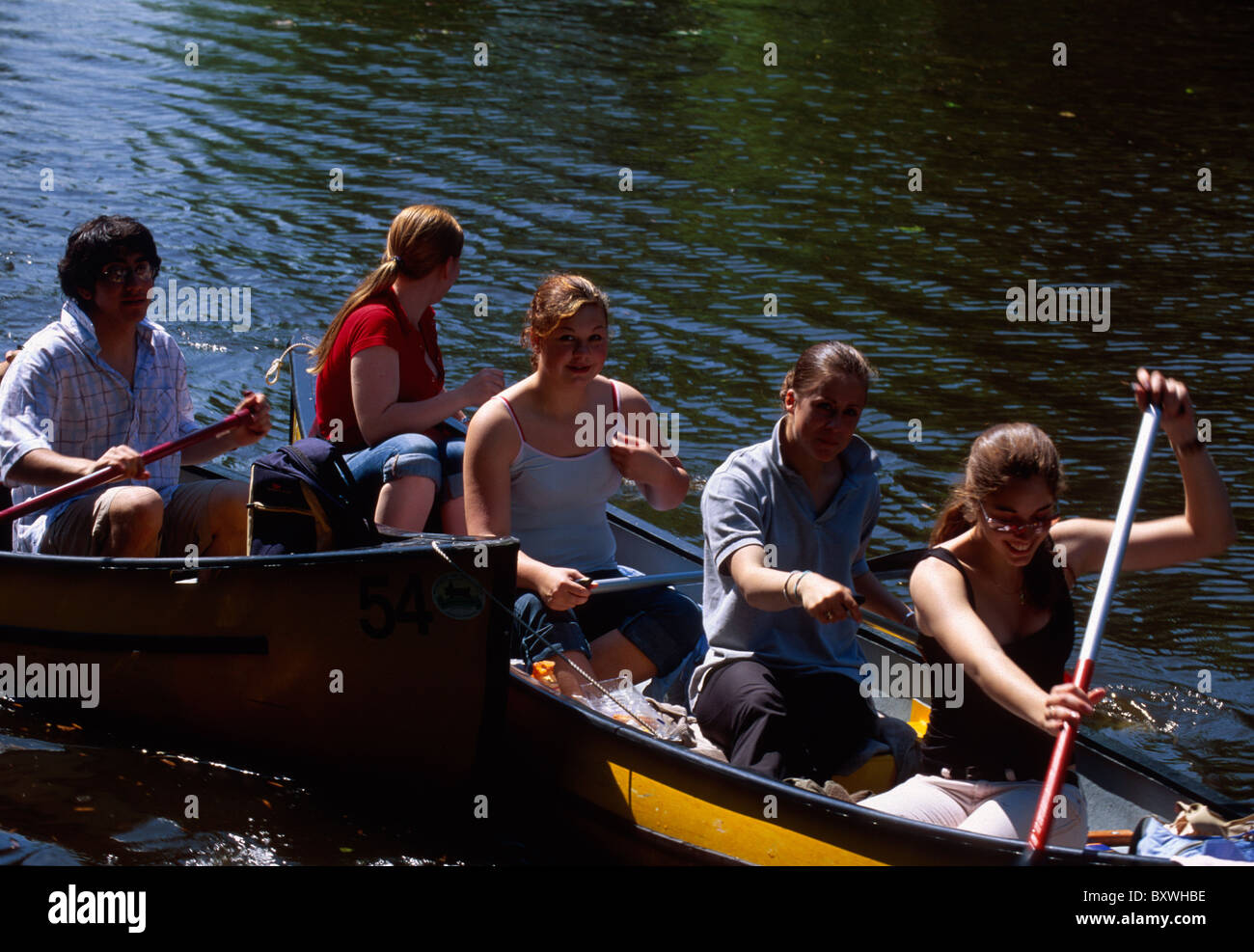 Boat trip in Uhlenhorst, Hamburg, Germany - Stock Image