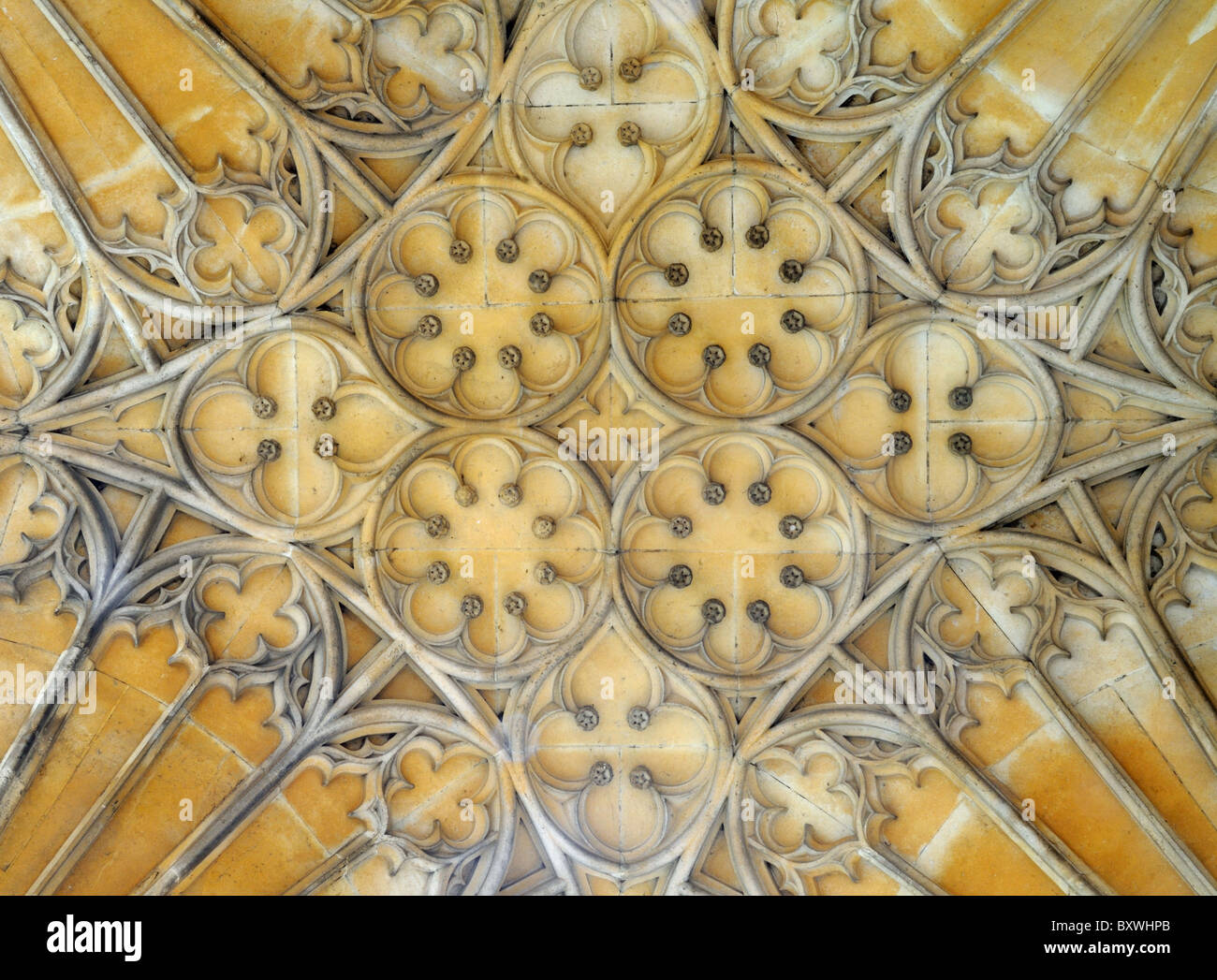 Fan Vaulting of a reconstructed portion (c.1899) of the cloister of Tewkesbury Abbey, in Tewkesbury, Gloucestershire, - Stock Image