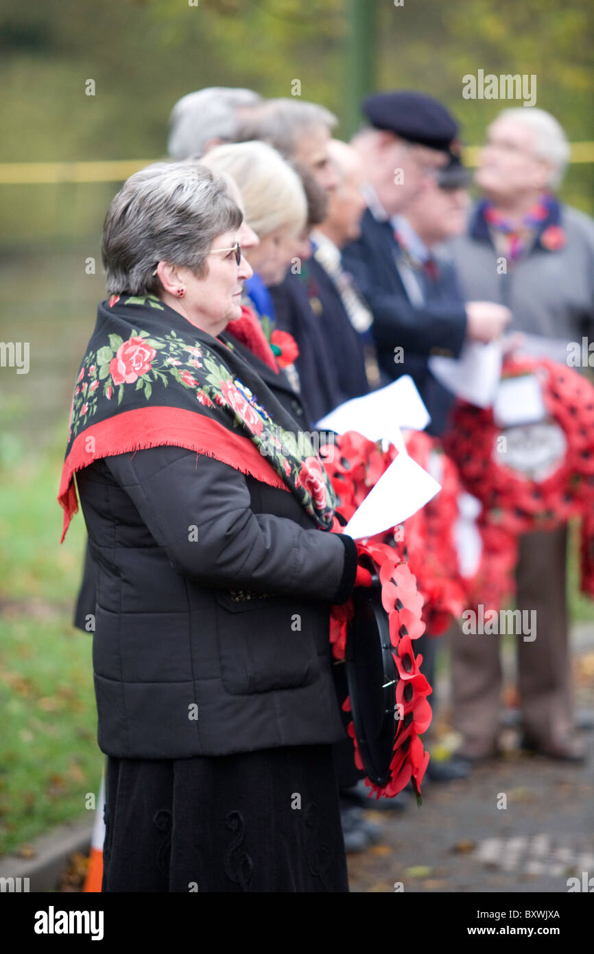 Wreath bearers at Remembrance Day parade - Stock Image