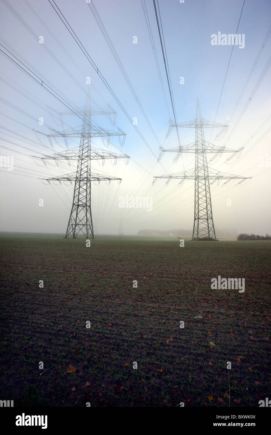 High-tension power line. Electricity. - Stock Image