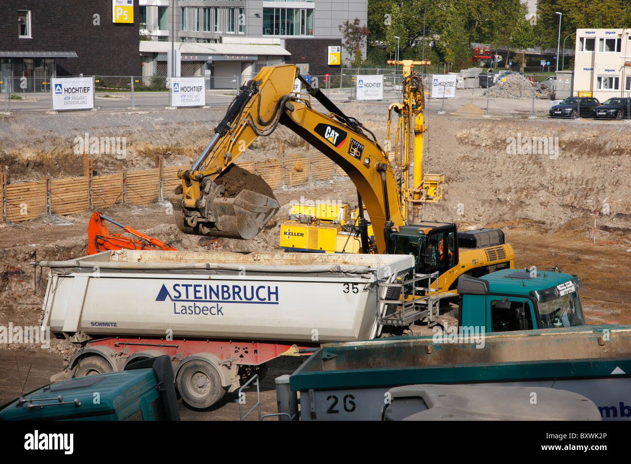Construction site, foundation pit. Construction of an  office building. Essen, Germany. Stock Photo