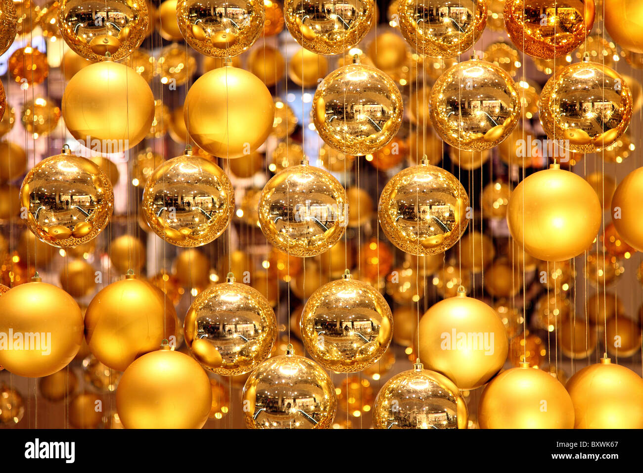 Christmas Decoration In A Shopping Mall Many Golden Tree Balls Forms Giant Ball
