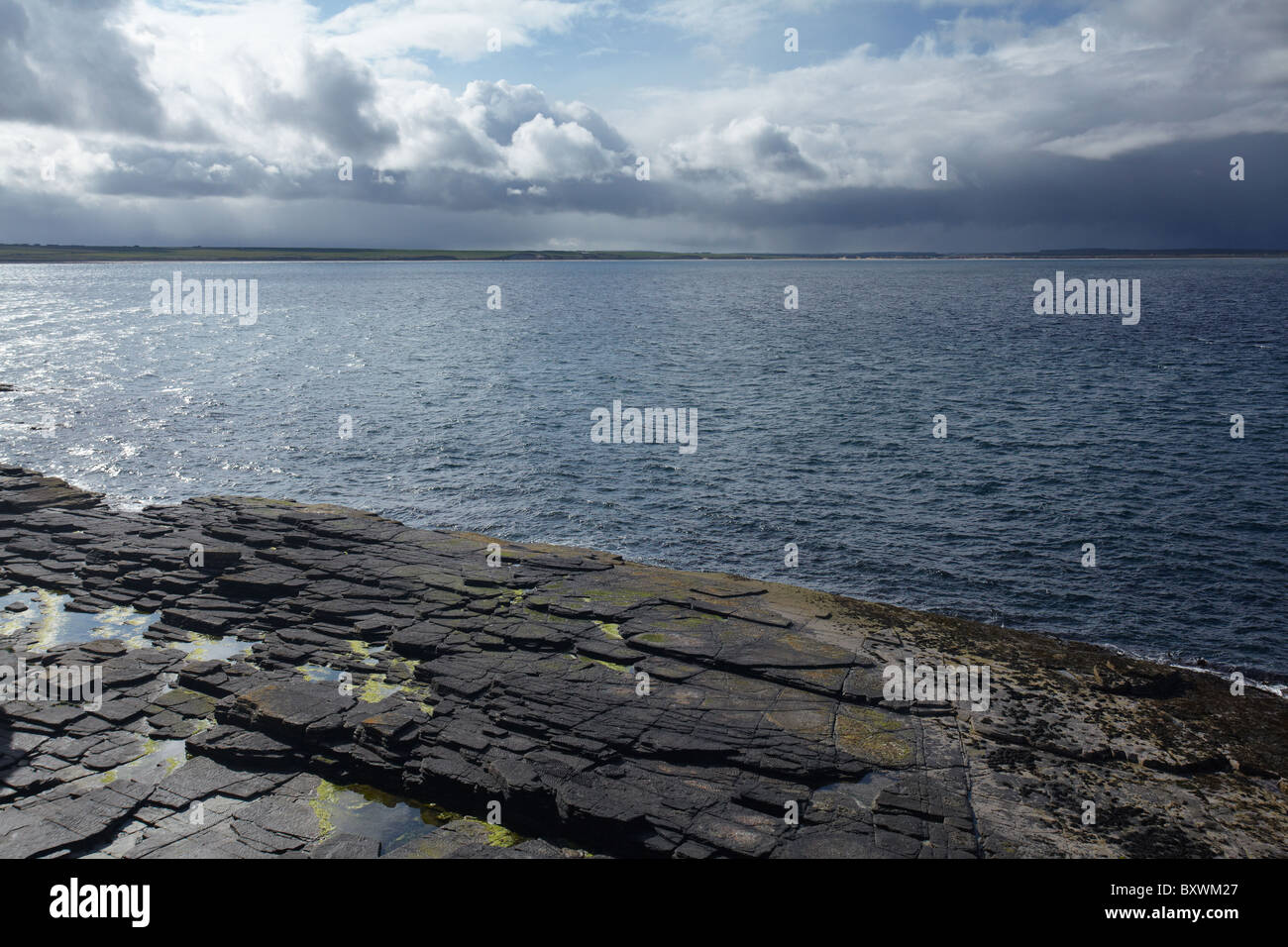 Eroded rock coast near Noss Head, Wick, Caithness, Highlands, Scotland, United Kingdom - Stock Image