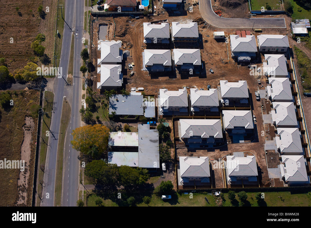 Aerial view of new housing Brisbane - Stock Image