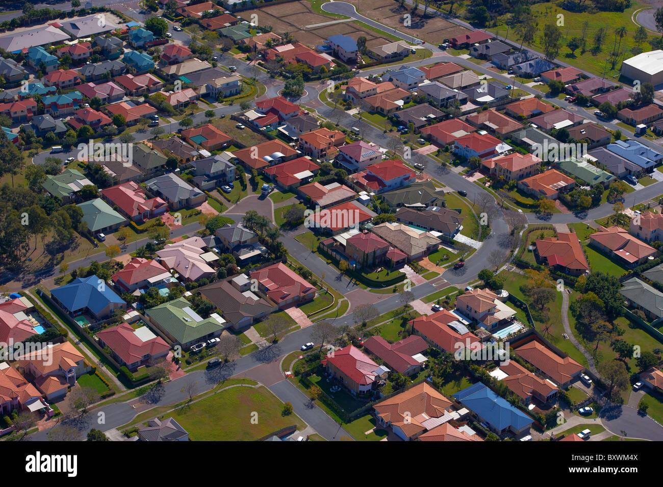 Aerial view of new housing Brisbane Australia - Stock Image