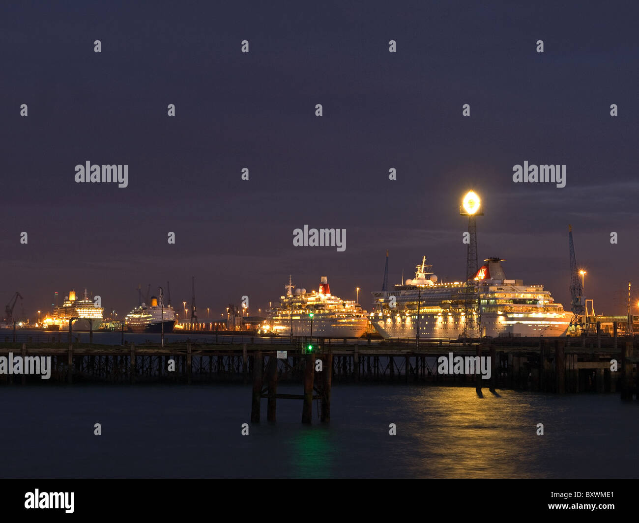 Cruise ships Balmoral (right), Black Watch, Saga Ruby and Arcadia berthed in Southampton England UK early morning - Stock Image