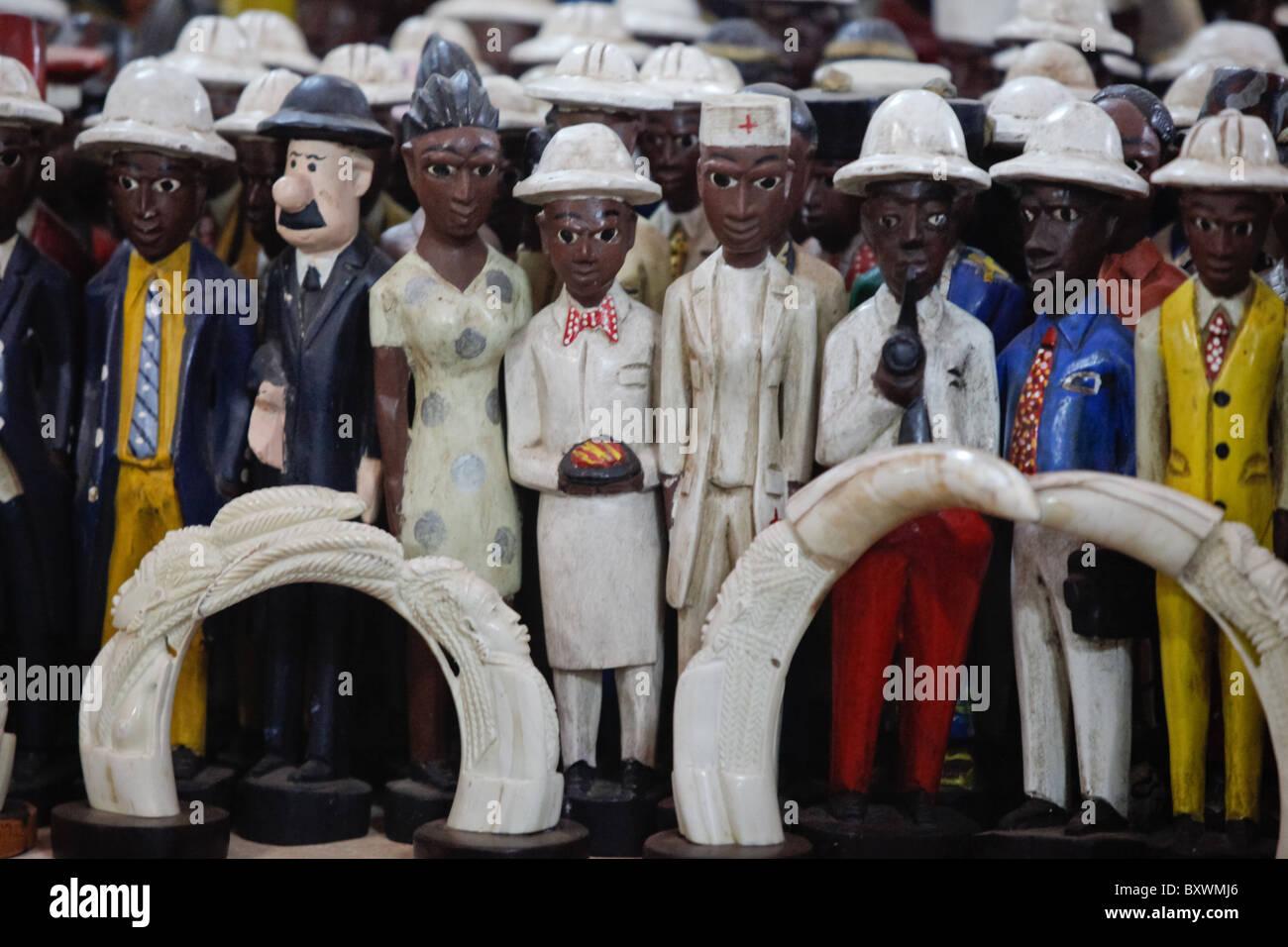 Wood and metal sculptures at the 12th biannual Salon International de l'Artisanat de Ouagadougou (SIAO) in Burkina Faso. Stock Photo