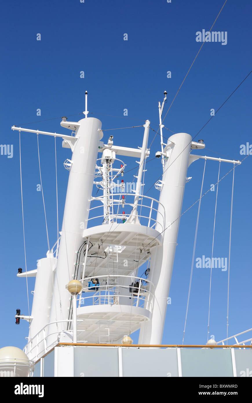 Radar Tower aboard a cruise ship. - Stock Image