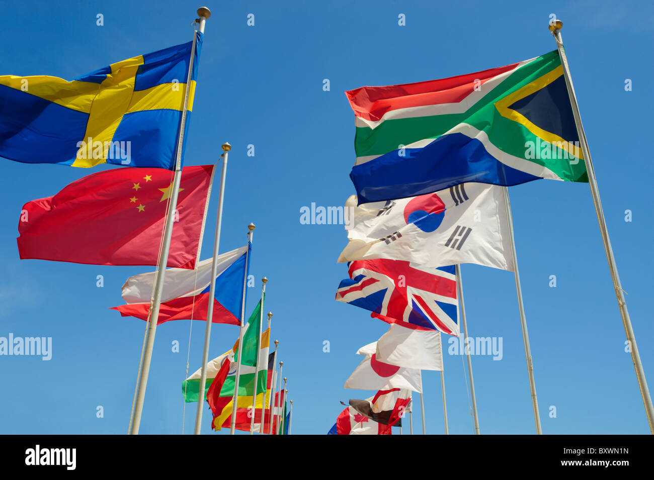 World countries International flags flying - Stock Image