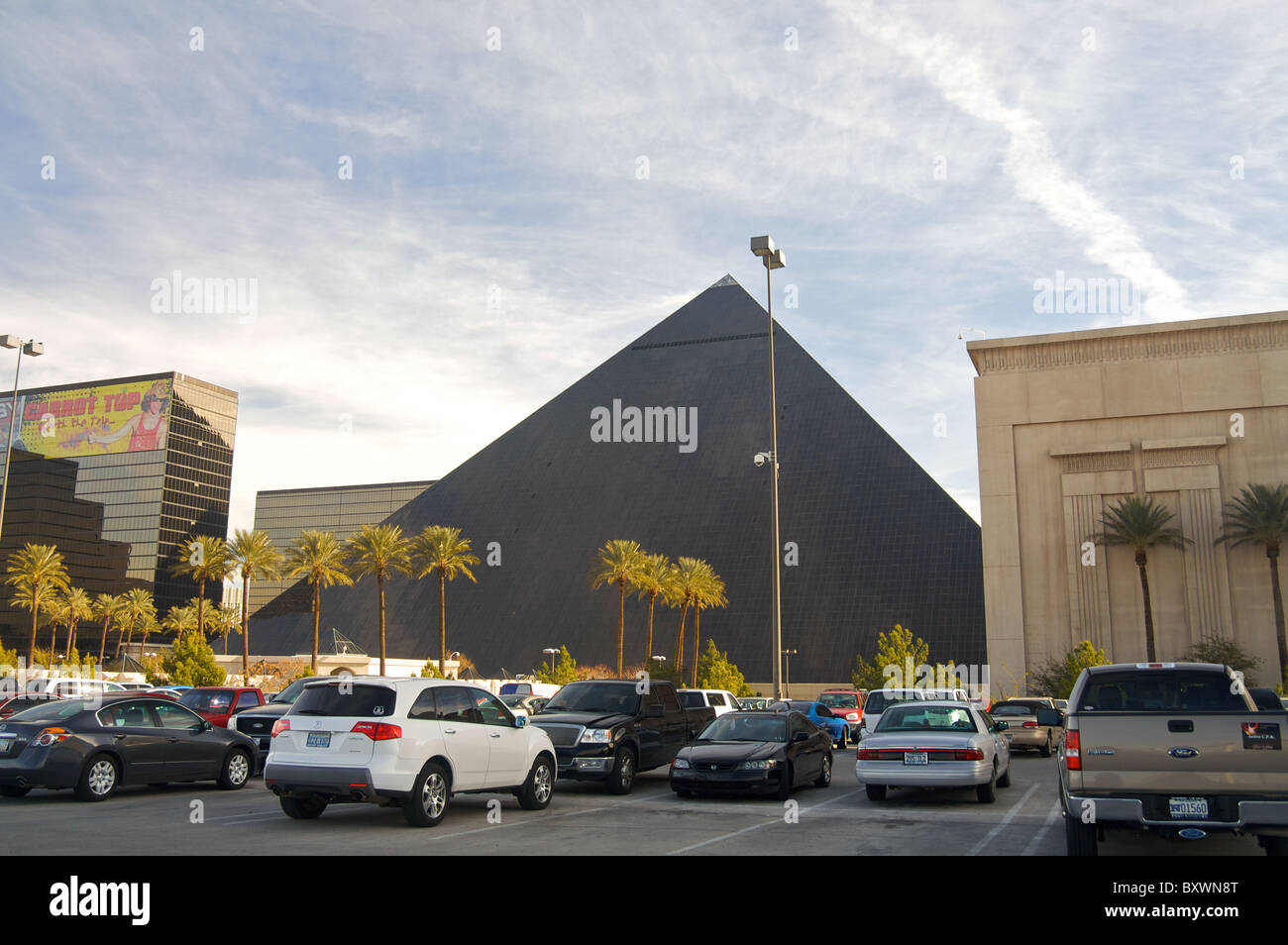 The parking lot of the Luxor Hotel, in Las Vegas Stock Photo