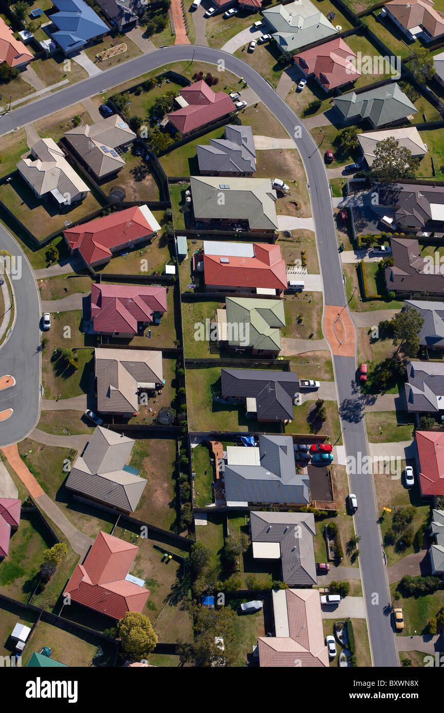 Aerial view of new housing estate west Brisbane Australia - Stock Image