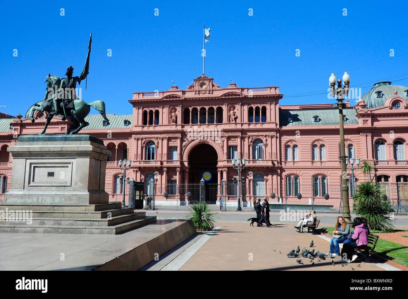 Casa Rosada presidential palace and General San Martin statue, Plaza de Mayo, Buenos Aires, Argentina, South America - Stock Image