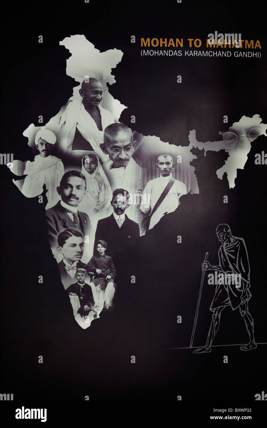 it is a photograph showing evolution of Mohan Das Karam chand Gandhi to Mahatma Gandhi shown in the map of India - Stock Image