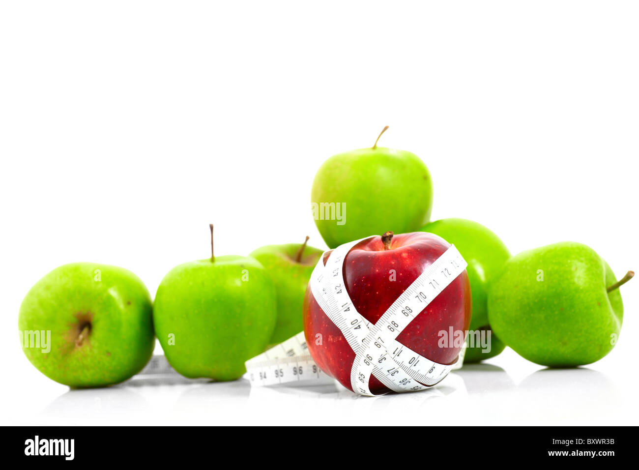 apples measured the meter, sports apples - Stock Image