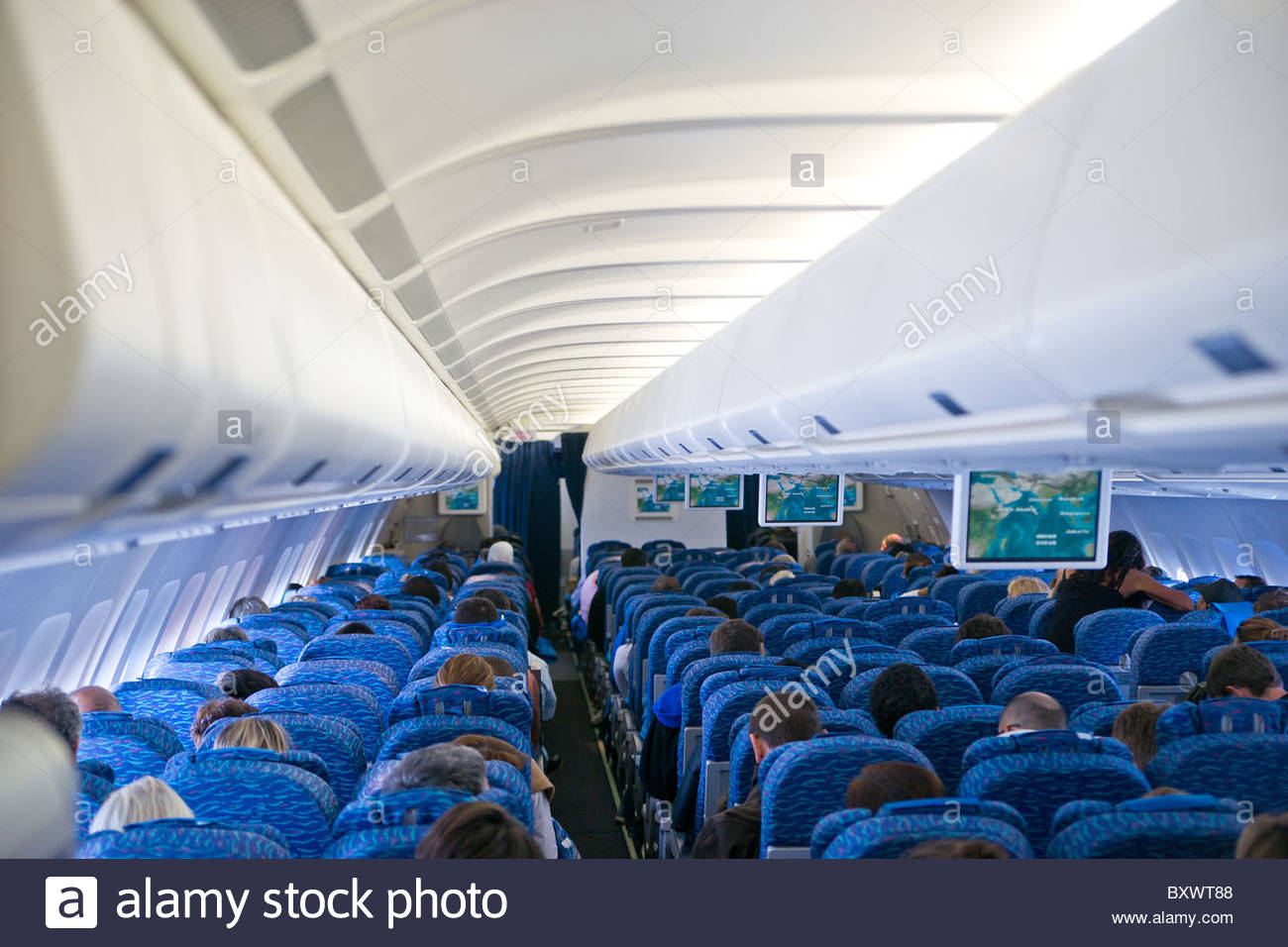 Aircraft cabin during flight (Airbus A330) - Stock Image