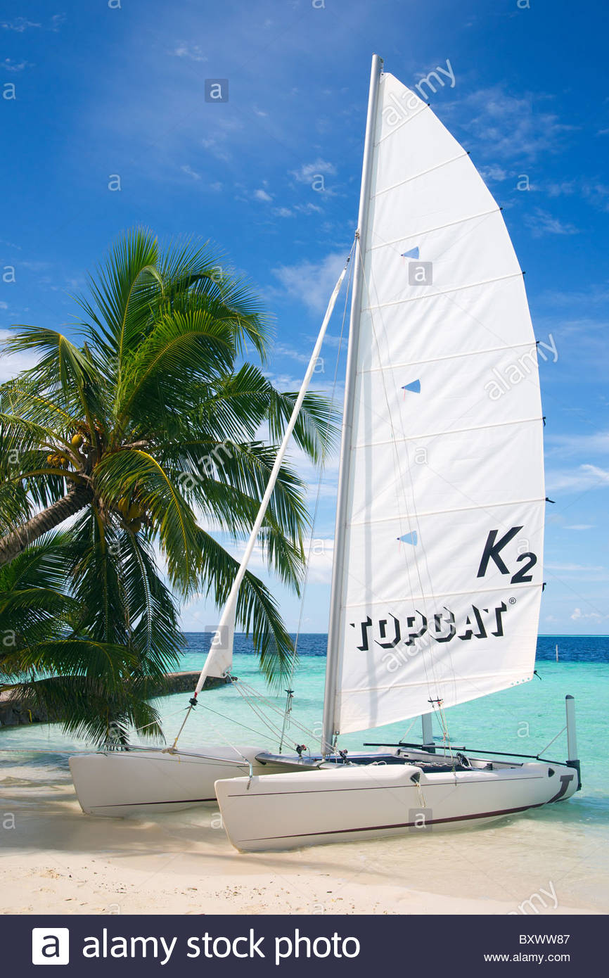 Topcat K2 sailing catamaran boat at Biyadhoo island - Maldives - Stock Image