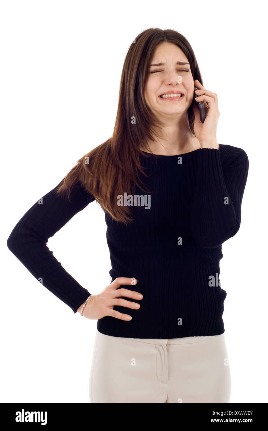 Receiving Bad News on the Phone Isolated over White. - Stock Image