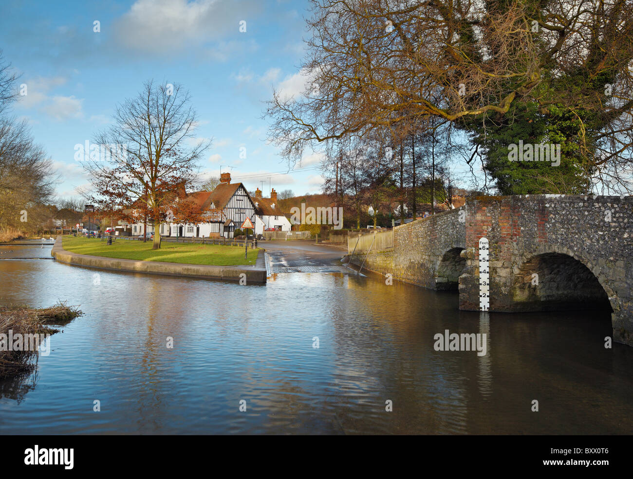 The Ford and ancient bridge at Eynsford. - Stock Image