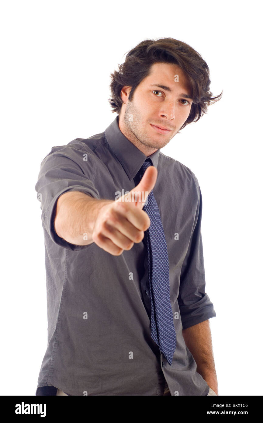 business man with thumbs up isolated over white - Stock Image