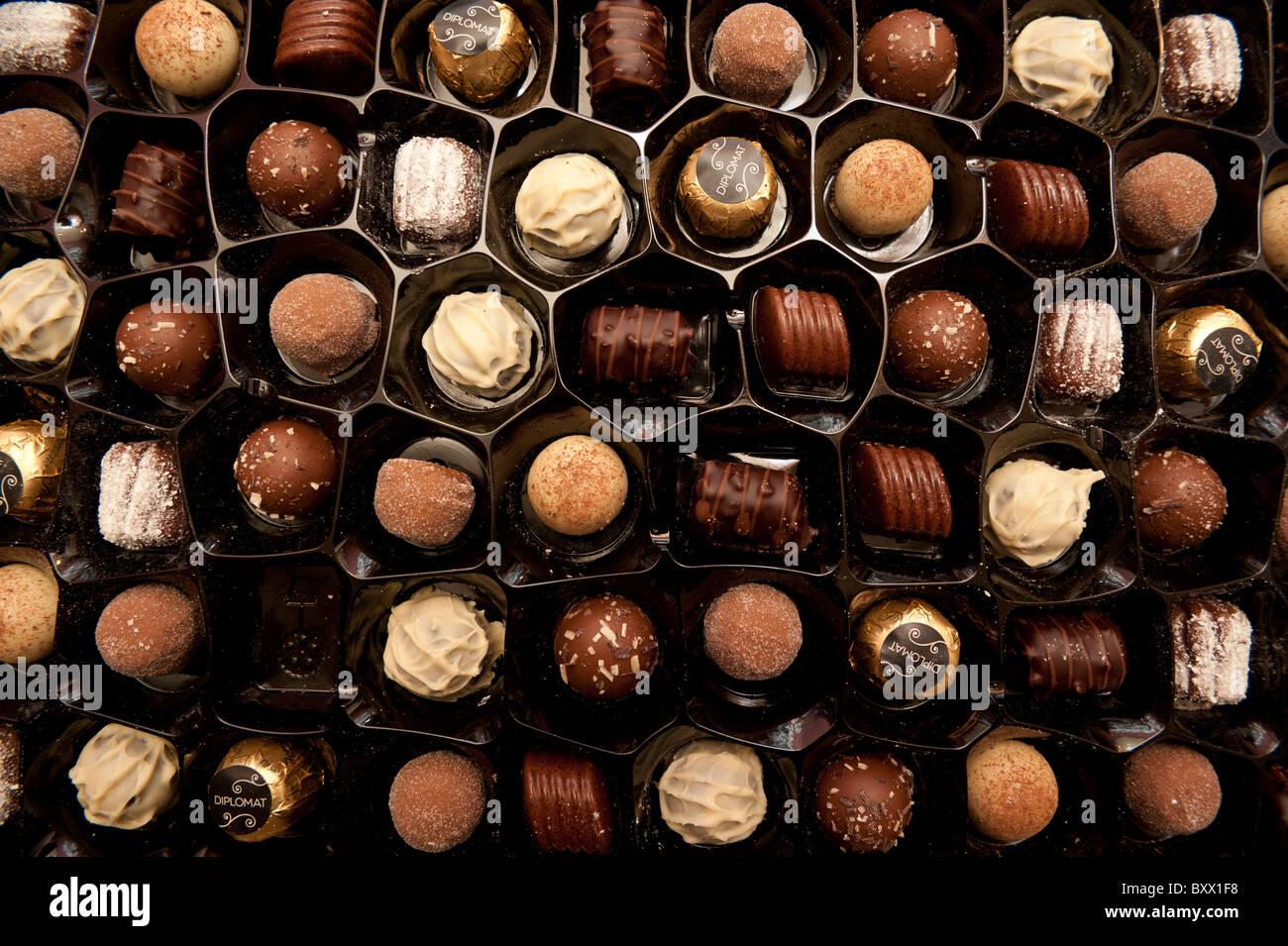 A tray of Thornton's luxury chocolates and truffles, UK - Stock Image