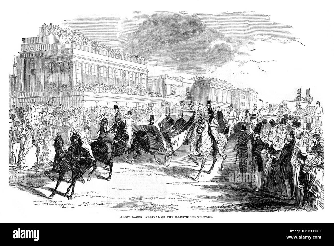Ascot Races; The Arrival of Illustrious Visitors; 19th century; Black and White Illustration; - Stock Image