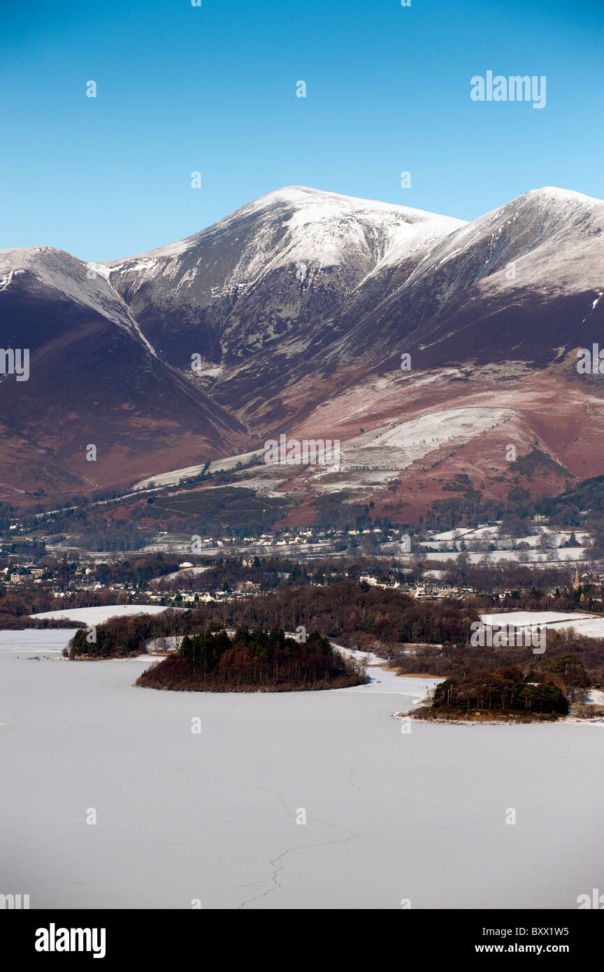 Looking over a Frozen Derwent Water towards Bassenthwaite and Skiddaw from Surprise View. - Stock Image