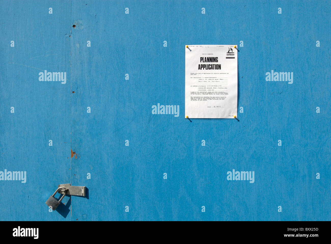 Planning application sign - Stock Image