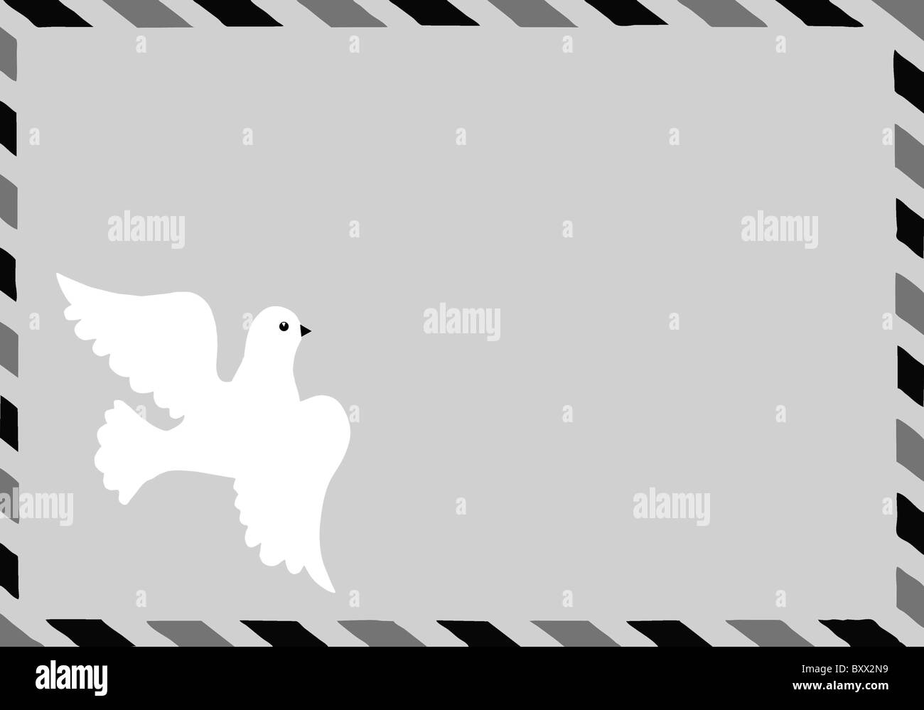 vector illustration of the postal envelope with dove - Stock Image
