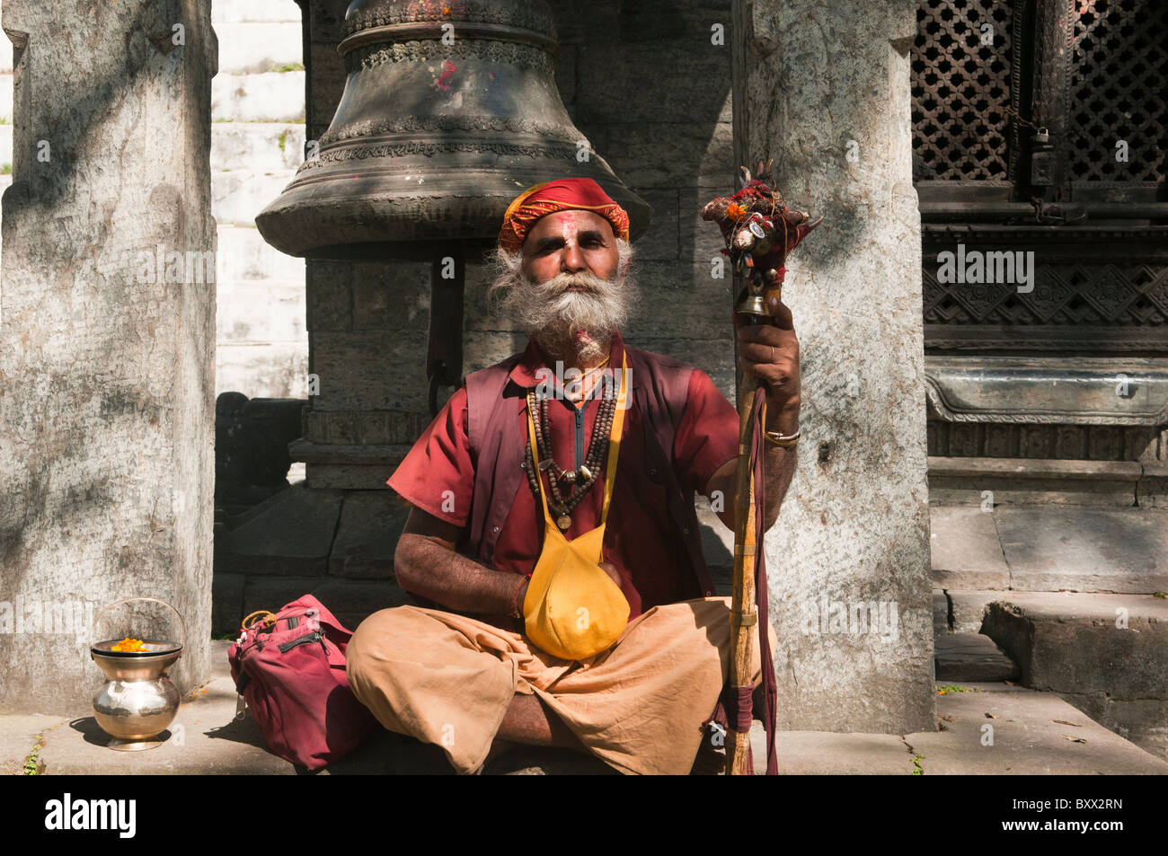 portrait of a sadhu at the Pashupatinath Temple in Kathmandu, Nepal - Stock Image