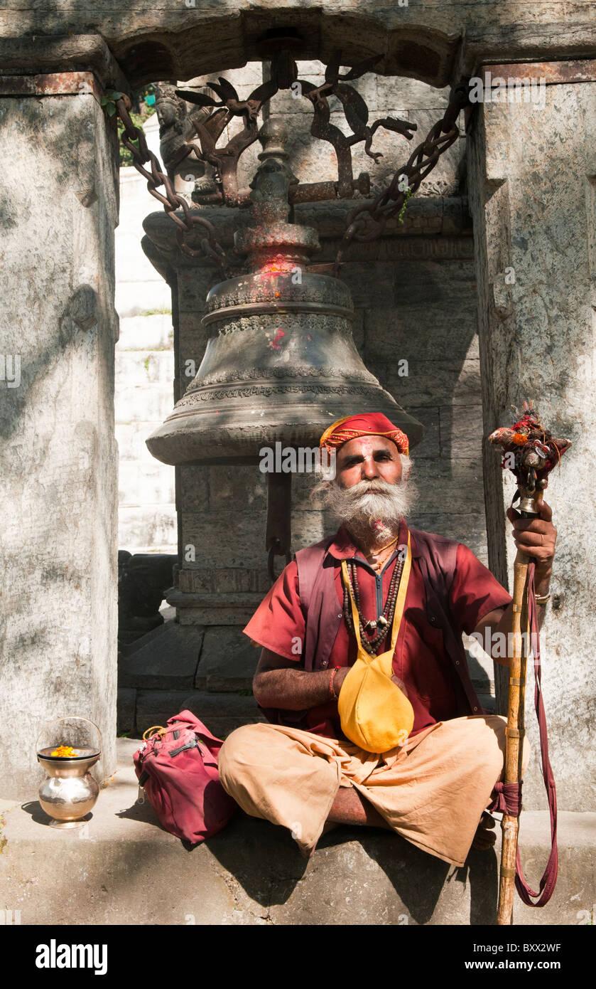 portrait of a sadhu at the Pashupatinath Temple in Kathmandu, Nepal - Stock Image
