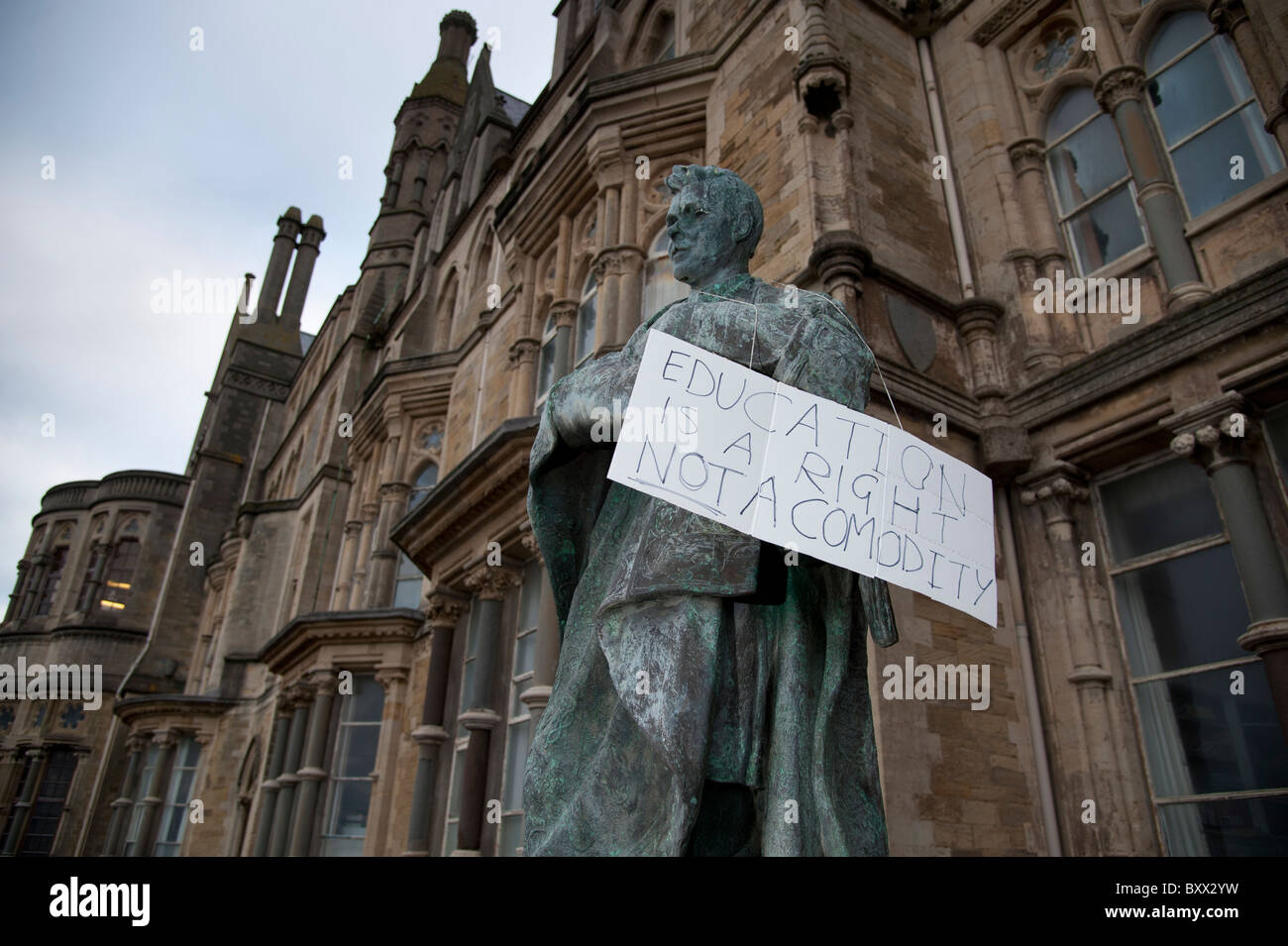 Aberystwyth university students protesting at the planned cuts in higher education funding, UK - Stock Image
