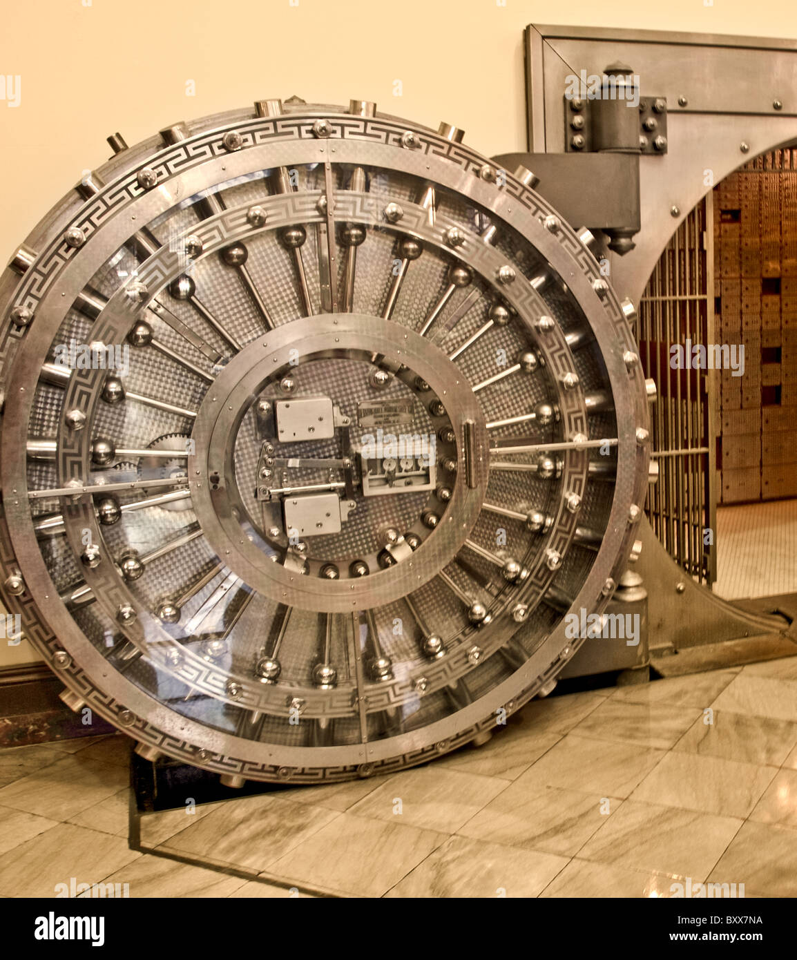 Bank vault for content protection from theft, fire and natural disasters - Stock Image