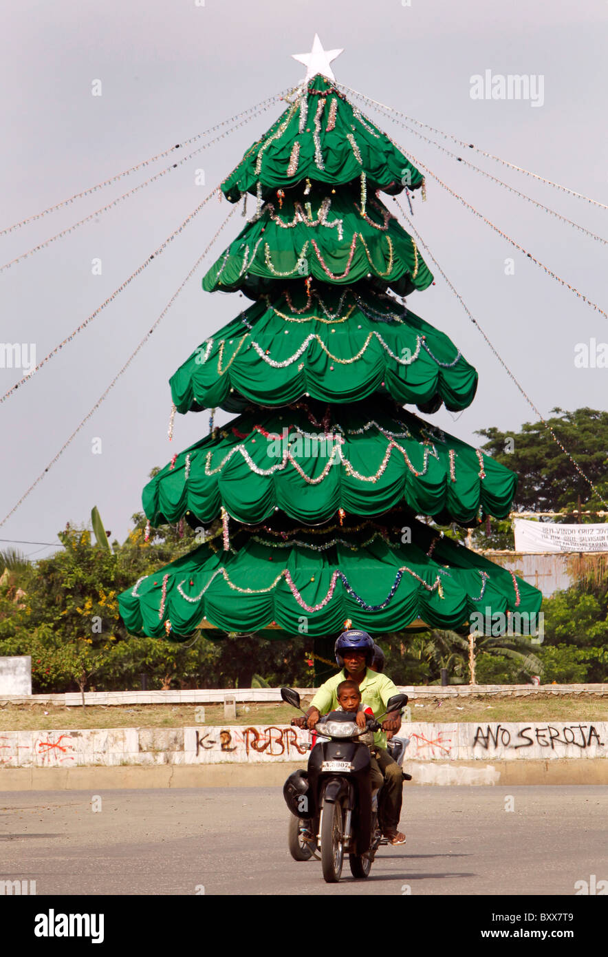 Christmas tree in the streets of Dili, capital of Timor Leste (East Timor) Stock Photo