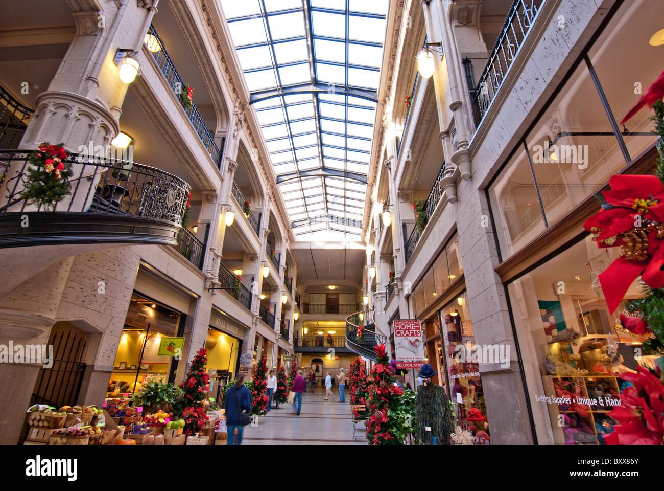 Grove Arcade, a Tudoresque style shopping center built in 1942, sprawls over a city block in Asheville, North Carolina, Stock Photo