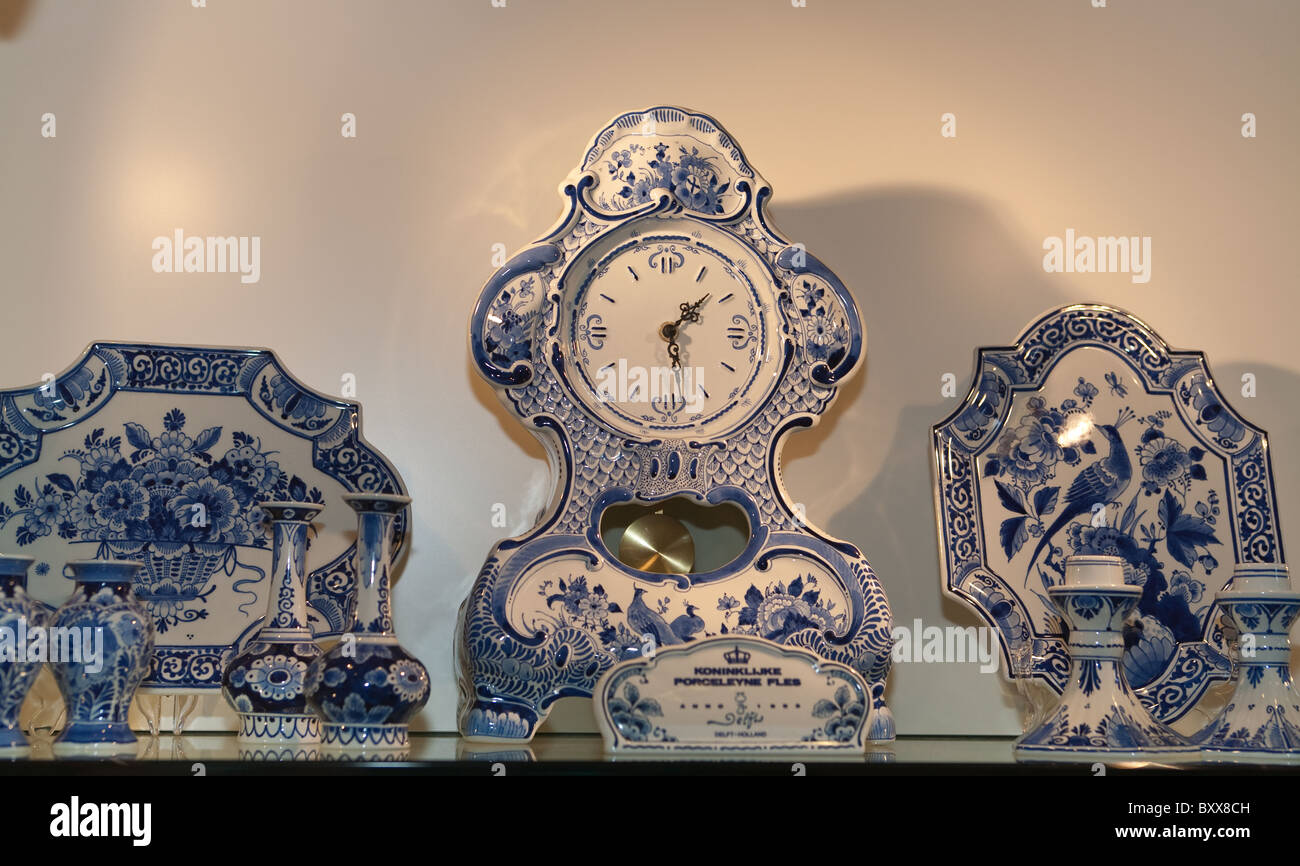 Delft pottery on display and for sale Amsterdam - Stock Image