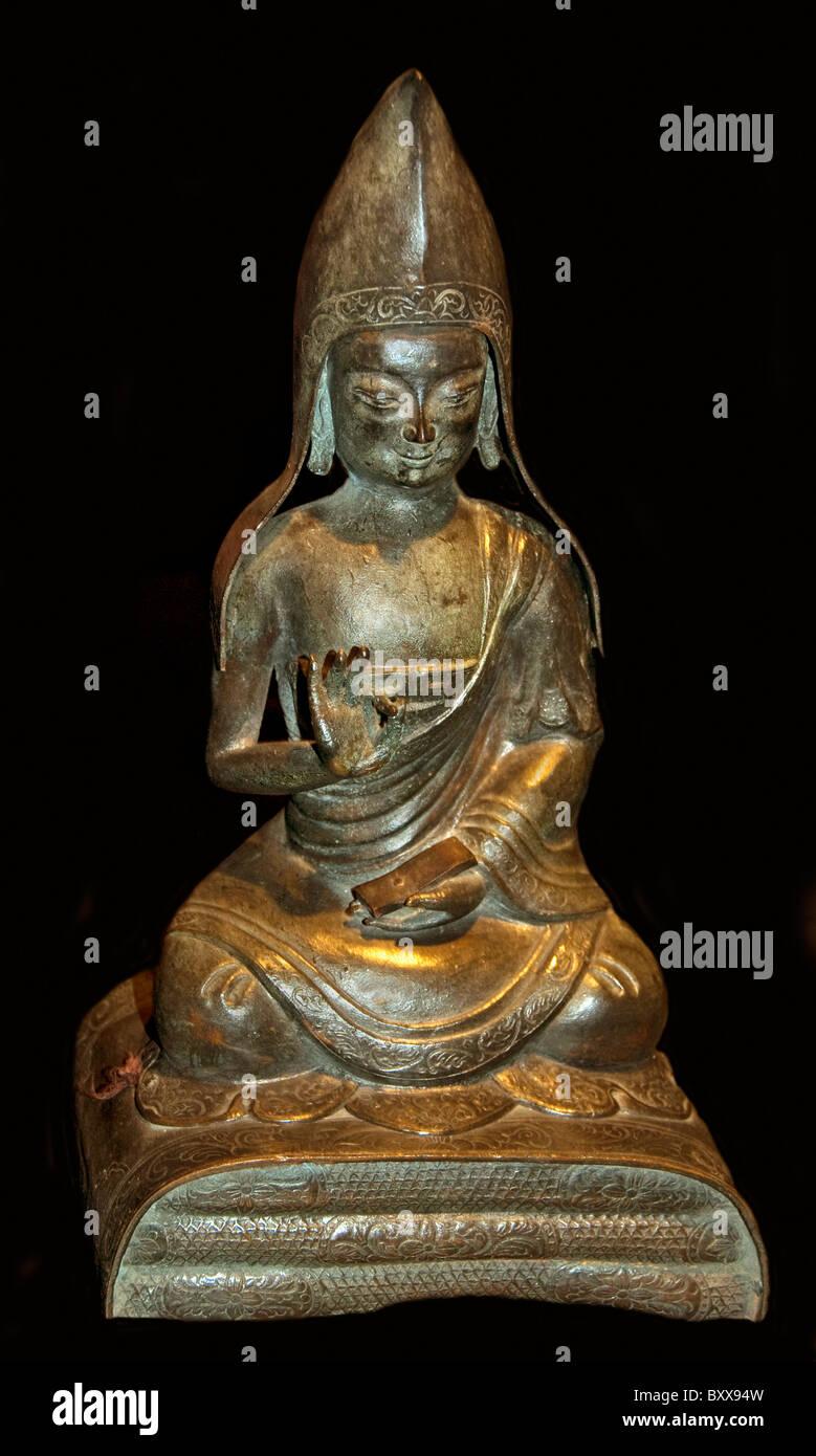 Senior Lama Tibet Tibetan sect Gelukpa 1750 China Chinese Himalayas  Buddha  Buddhist - Stock Image