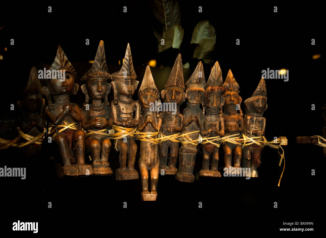 Row Ancestral Images 19th Cent Nias Indonesian Sumatra Indonesia - Stock Image