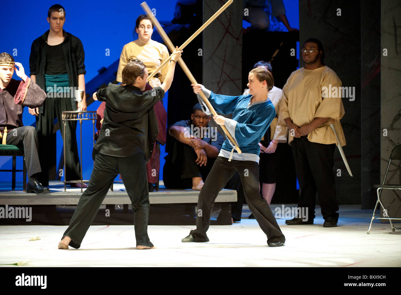 Students on stage during their school production of Shakespeare's classic play, Hamlet., at Lyndon Baines Johnson - Stock Image